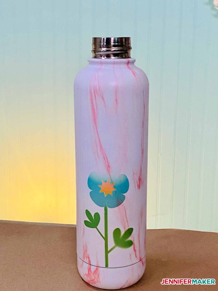 Walmart water bottle sublimated with Infusible Ink on the Cricut Mug Press