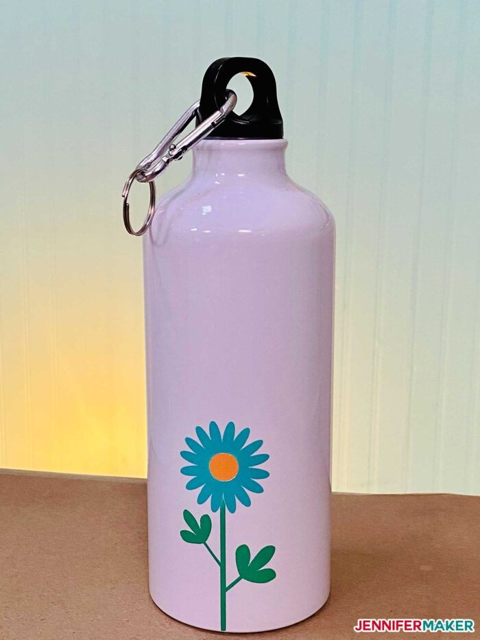 Sublimation water bottle with blue Infusible Ink