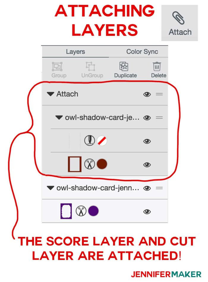 How to attach score layers to cut layers in Cricut Design Space