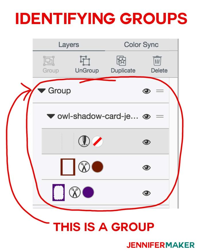 How to identify groups in the layers panel for Cricut Scoring