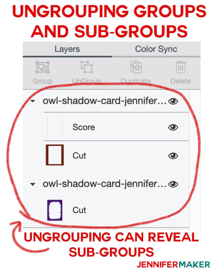 How to ungroup groups in the layers panel for Cricut Scoring