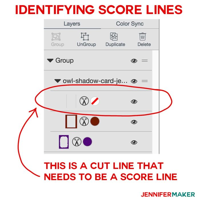 How to identify cut lines that should be score lines for Cricut Scoring