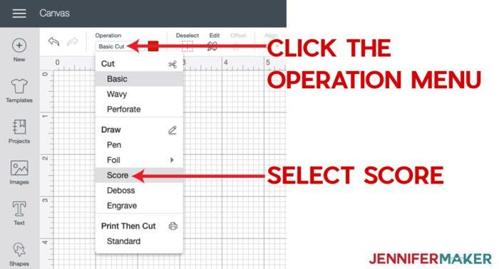 Setting score lines in the linetype menu in Cricut Design Space for Cricut Scoring