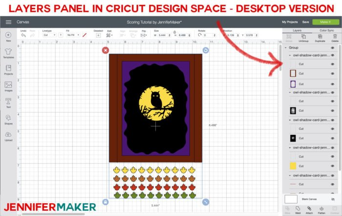 Cricut Design Space Layers Panel: Cricut Scoring Tutorial