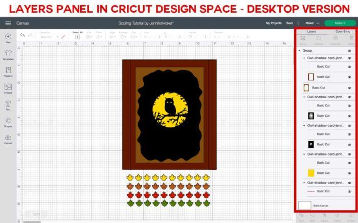 Cricut Design Space Layers Panel: Cricut Scoring Tutorial