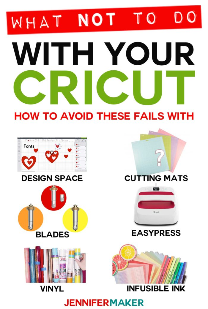 Cricut Tips: What NOT to do for successful projects in Design Space, with cutting mats, blades, vinyl, Infusible Ink, and the EasyPress! #cricut #infusibleink #easypress