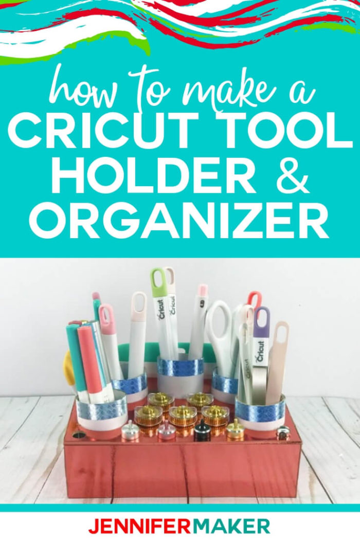 Learn how to make your own Cricut tool holder from either chipboard (on the Maker) or layers of Kraft board (on the Explore) to hold all of your blades, housings, scrapers, and long tools! Free SVG cut file and tutorial is available to help you with this project. #cricut #cricutmade #cricutmaker #cricutexplore #svg #svgfile