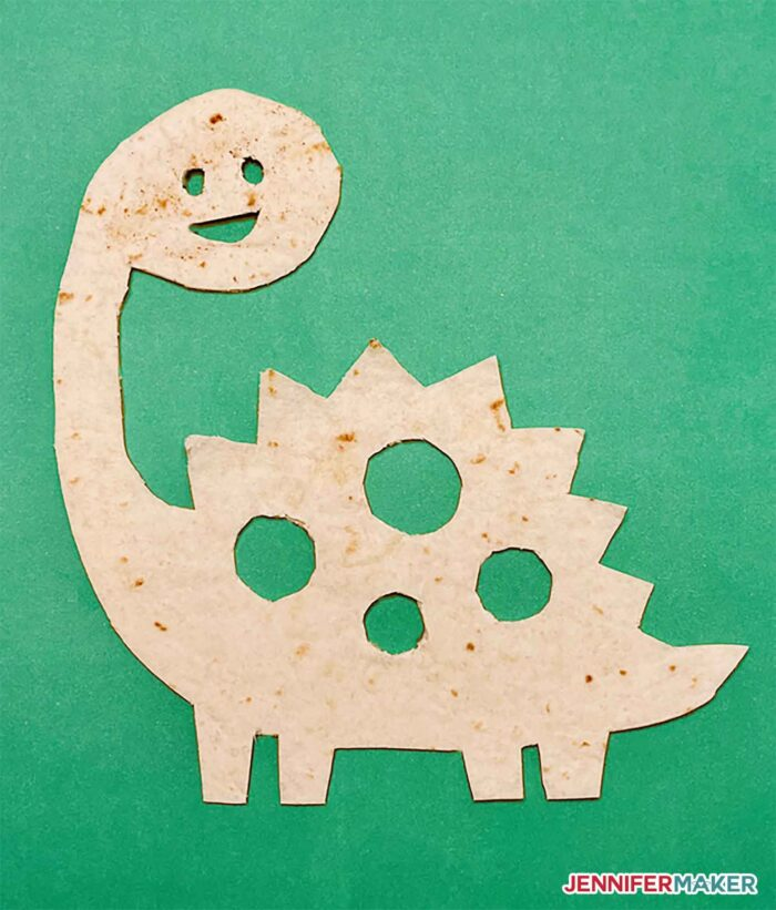 Dino quesadilla made from a food safe stencil cut on a Cricut cutting machine to make the Cricut Tortilla!