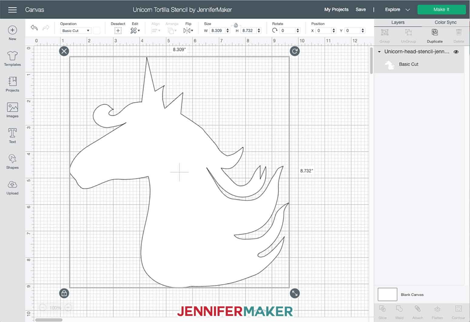 "Unicorn stencil svg cut file uploaded to Cricut Design Space, already sized for a 10"" tortilla"