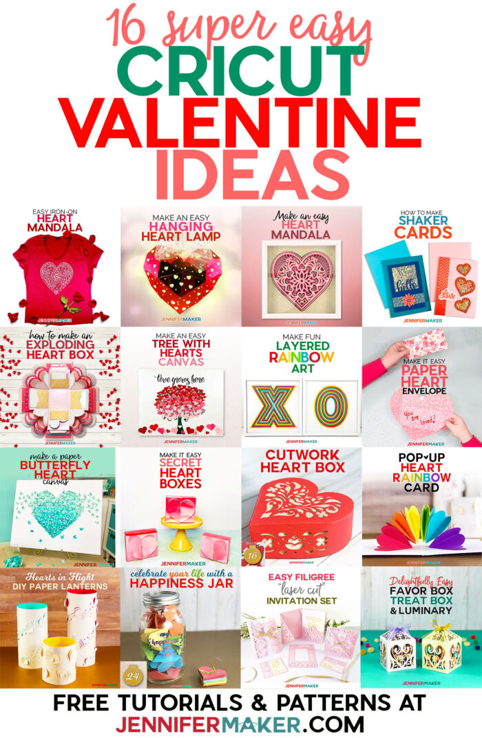 Cricut Valentine Ideas from Cards to Gifts to Home Decor - Free patterns and step-by-step tutorials #cricut #valentinesday