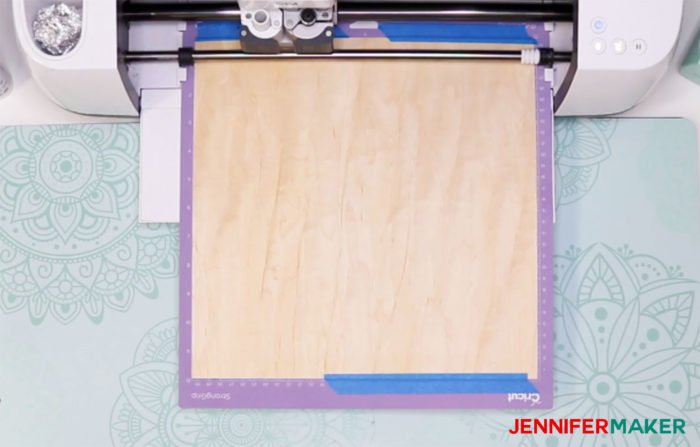 Cutting Cricut wood veneer earrings on a StrongGrip mat