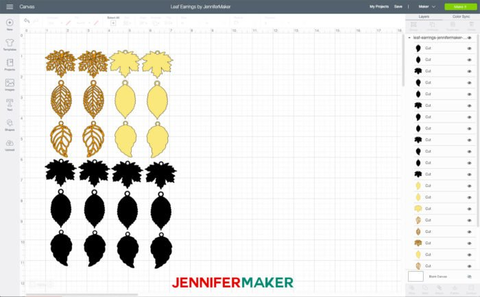 Leaf Earrings uploaded to Cricut Design Space to make Cricut wood veneer earrings