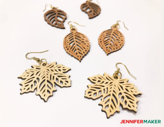 Cricut Wood Veneer Earrings with intricate cuts