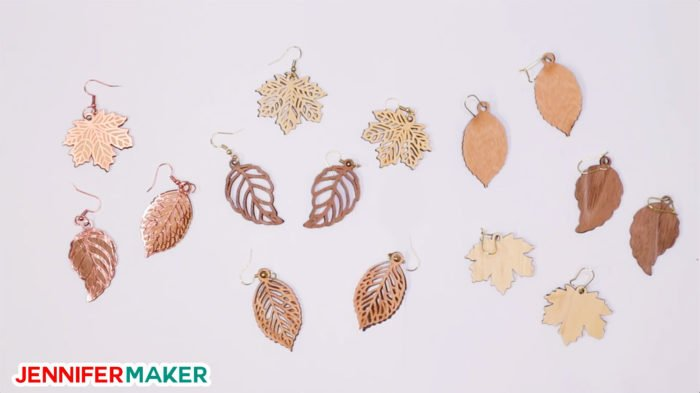 Cricut wood veneer earrings in various leaf shapes -- so pretty!