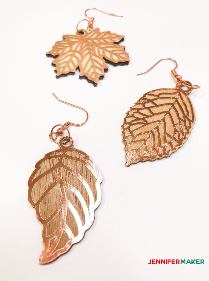 Cricut Wood Veneer Earrings with a metallic foil vinyl overlay