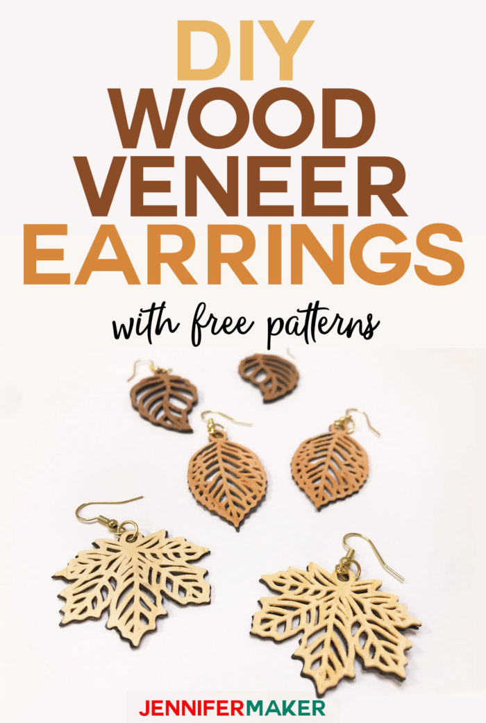 DIY Cricut Wood Veneer Earrings with free patterns | Cut on a Cricut Explore or Maker | #cricutmade #woodveneer #earrings #cricutexplore #svgcutfile