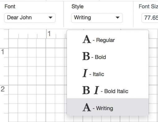 Selecting a writing style for a font in Cricut Design Space for Cricut Writing