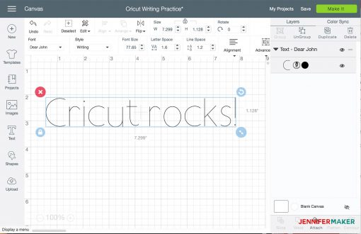 Clicking Make It in Cricut Design Space to write on your Cricut