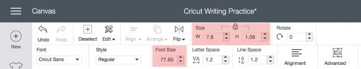 Changing the size of text in Cricut Design Space for Cricut Writing