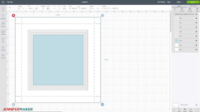 My shadow box template svg cut file uploaded to Cricut Design Space