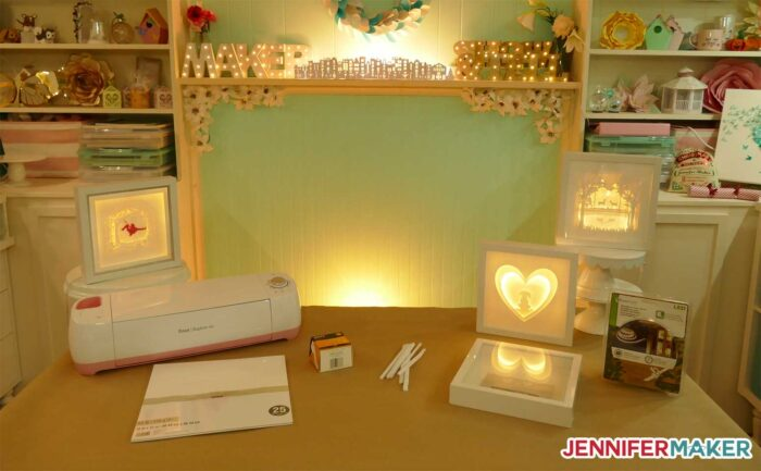 Jennifer's custom shadow boxes in her craft room