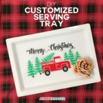 Make a Customized Serving Tray with vinyl that's food safe using your Cricut | Free SVG Cut File | #cricut #christmas #homedecor