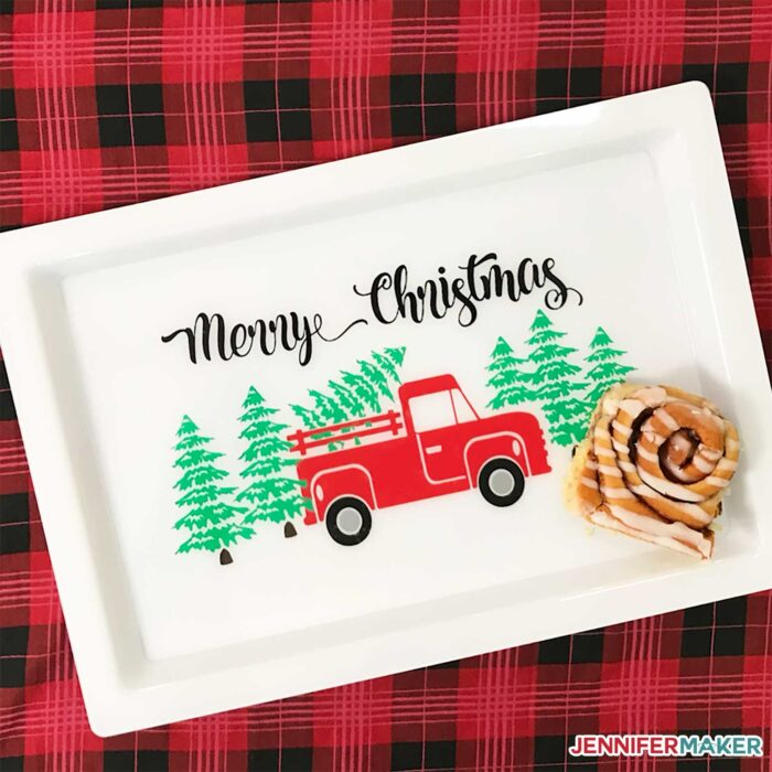 Christmas Red Truck customized serving tray with a cinnamon roll