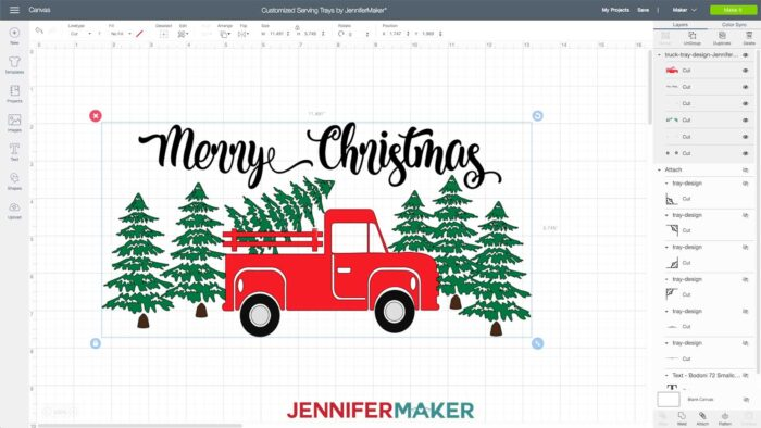 Red holiday truck design svg cut file uploaded to Cricut Design Space to make customized serving trays with vinyl