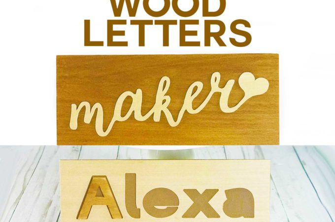 How to cut wood letters on a Cricut to make signs, name puzzles, monograms, and cake toppers! #cricutexplore #cricutmaker #wood #puzzle #caketopper #crafts