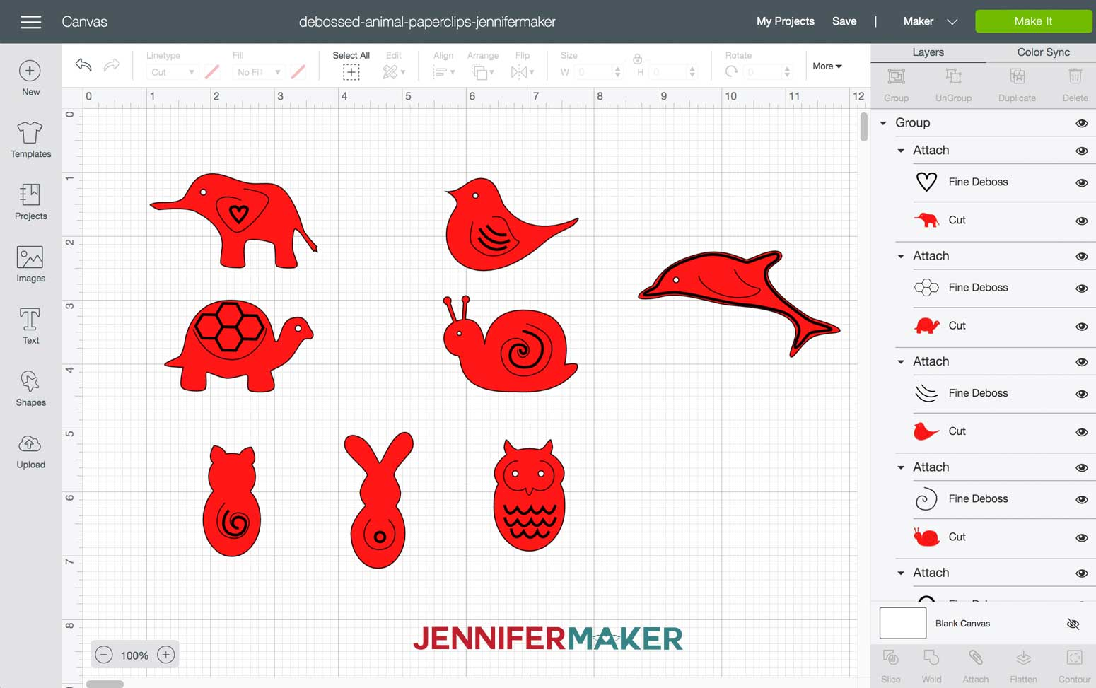 Import debossed animal paperclips SVG into Design Space