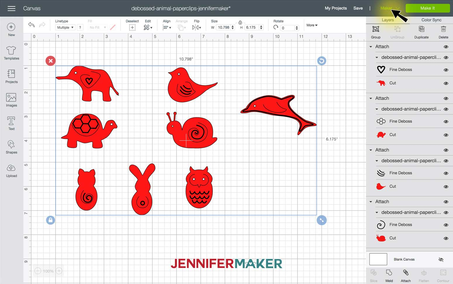 Select Maker machine in Debossed Animal Paperclips SVG file