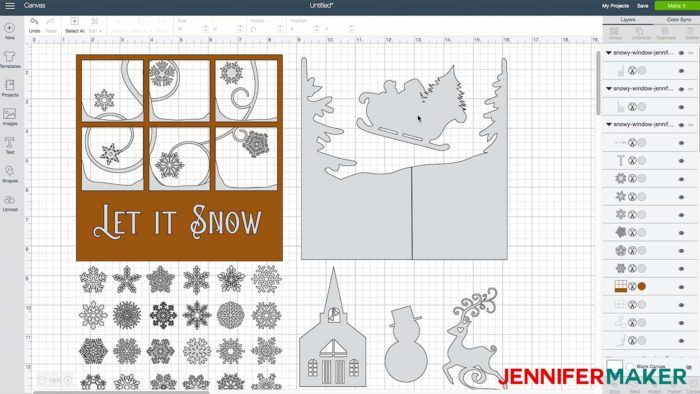 My snowy window design uploaded to Cricut Design Space to make decorated glass blocks