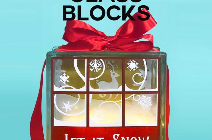 Decorated Glass Blocks with Lights and Vinyl, including a free design for a pretty snowy window scene #holidaydecor #glassblock #vinyl #cricut #diy