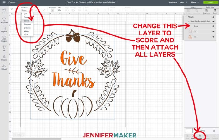 Give Thanks dimensional paper art SVG uploaded to Cricut Design Space