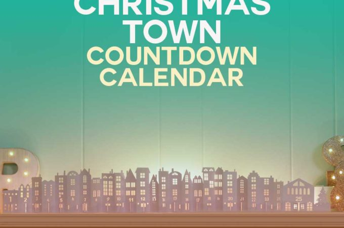Easy DIY Christmas Countdown Calendar - Make this Christmas Town and open each door to countdown to Christmas! Free SVG cut file for your Cricut | #christmas #papercraft #cricut