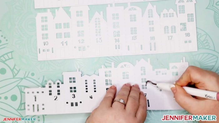 Weeding the cut cardstock for the DIY Christmas Countdown