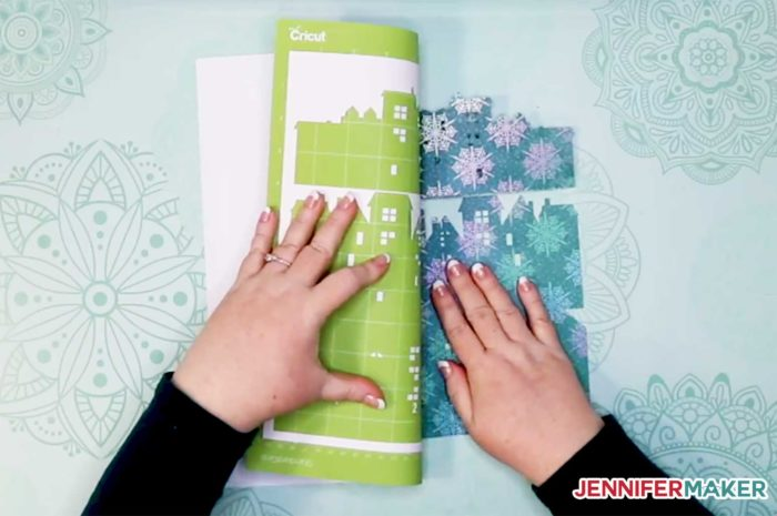 Removing the DIY Christmas Town Countdown cardstock from the Cricut cutting mat