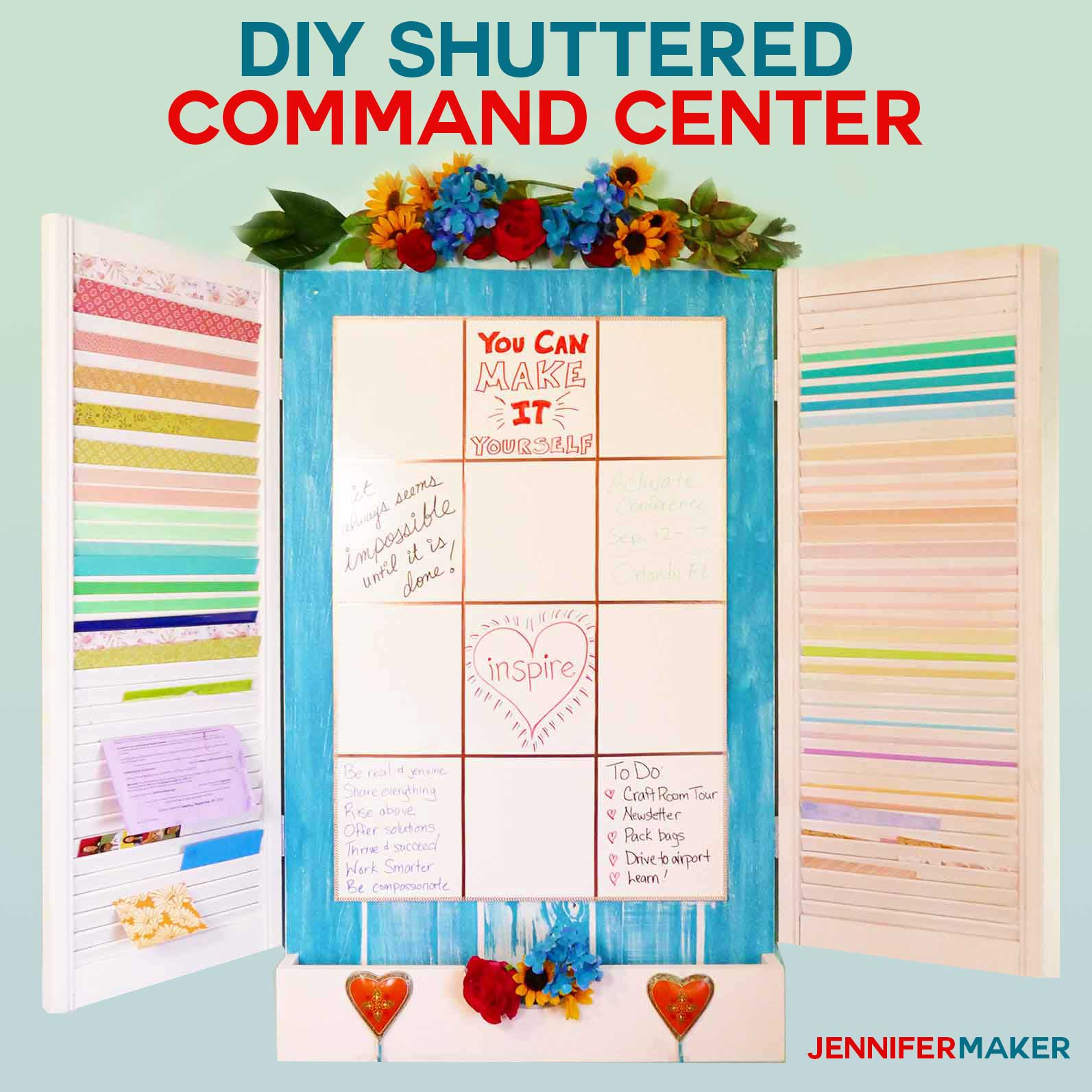 DIY Command Center with shutters for paper storage #craftroom #organization #storage