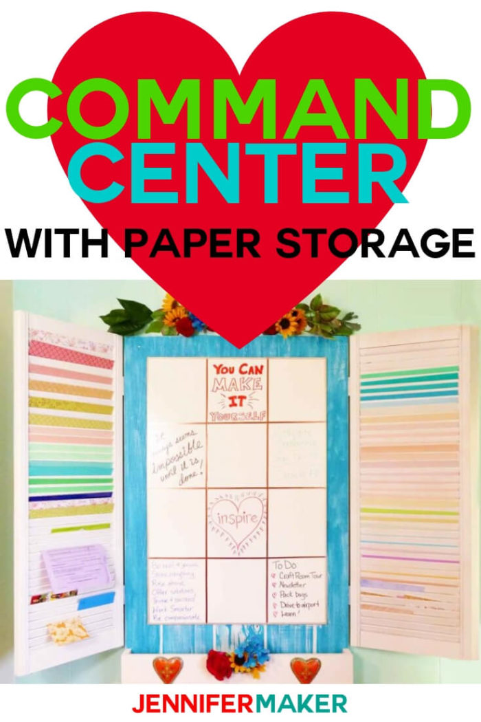 This DIY Command Center with paper storage is perfect to keep your home and craft room organized. #diy #tutorial #craftroom