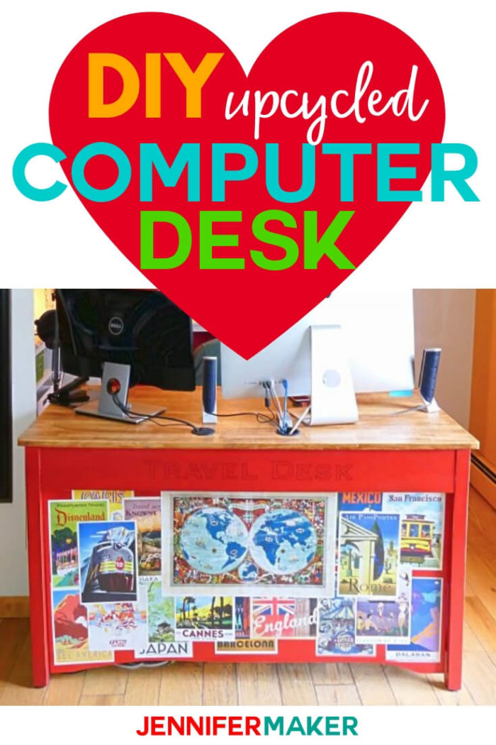This DIY computer desk was upcycled from an old table! Learn how I transformed this table with my step by step tutorial.  #diy #tutorial #craftroom
