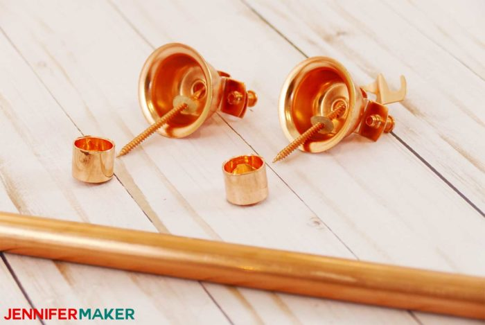 Copper bell hangers and copper pipe to make DIY copper pipe curtain rods