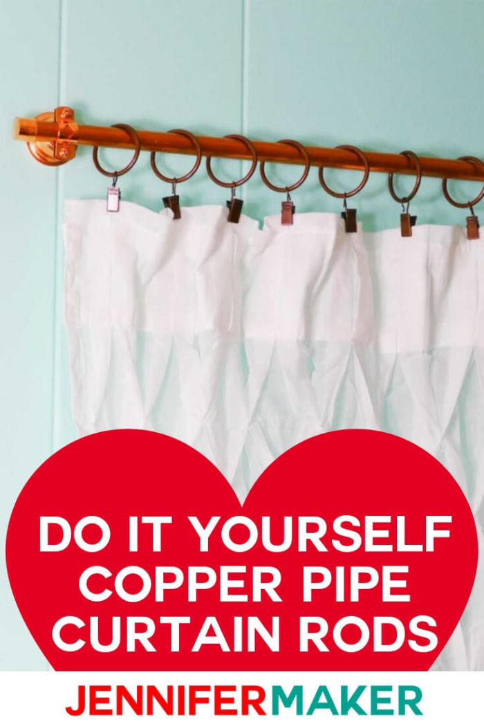 Learn how to make custom and beautiful window treatments with DIY copper pipe curtain rods -- inexpensively and easily! #diy #tutorial #craftroom