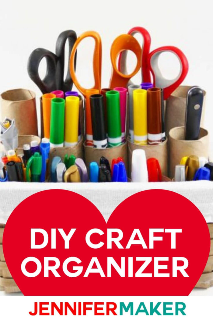 This DIY Craft Organizer can be made in 5 minutes with supplies you already have at home!  #diy #tutorial #craftroom