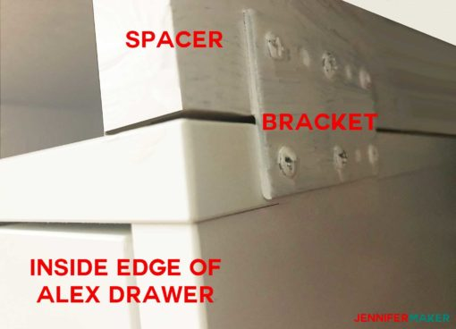 Attaching the spacer to the Alex drawer with a bracket