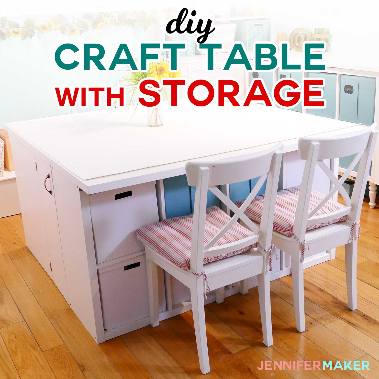 Diy Craft Table With Storage For Under 300 My Ikea Kallax Hack