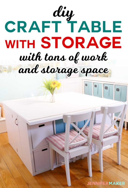 Diy craft table with storage my ikea hack jennifer maker for Small craft table with storage