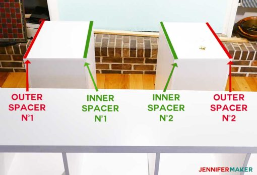 Diagram showing the location for the four spacers between the Alex drawers and the craft table top