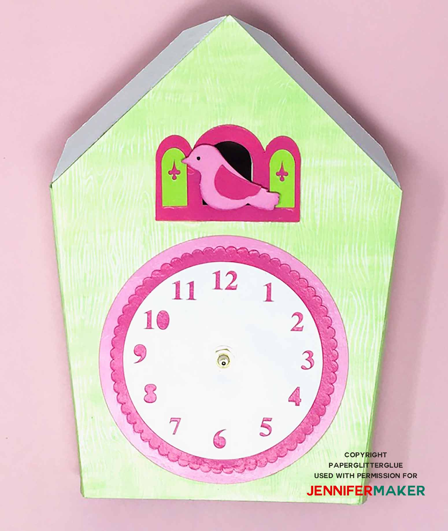 Glue decorative pieces to front of clock