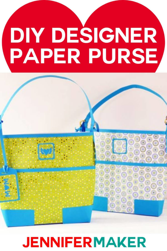 Make a unique gift bag that looks like a designer paper purse with this FREE pattern and tutorial. #cricut #cricutmade #cricutmaker #cricutexplore #svg #svgfile