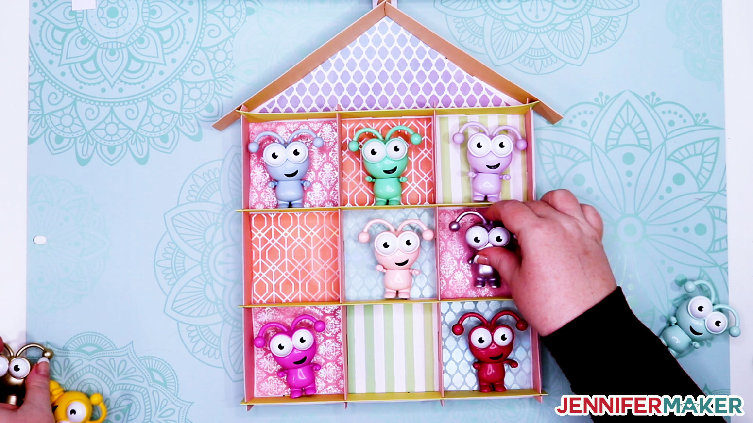 Filling your DIY display box with little Cricut Cutie figures